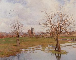 Camille Pissarro - paysage avec `flooded` champs