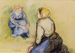 Camille Pissarro - assis paysanne et `knitting` paysanne