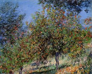 Claude Monet - des pommiers sur l Chantemesle Colline