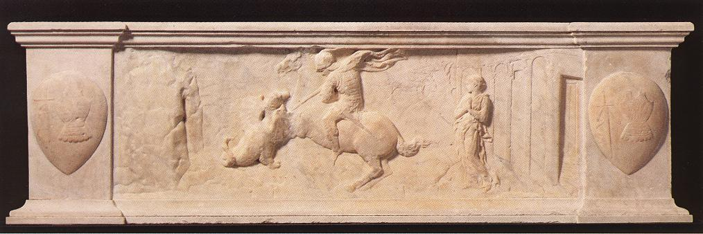 r george et le dragon, relief de Donatello (1386-1466, Italy)