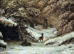 Gustave Courbet - cerf prise  abri  dans  Hivernal