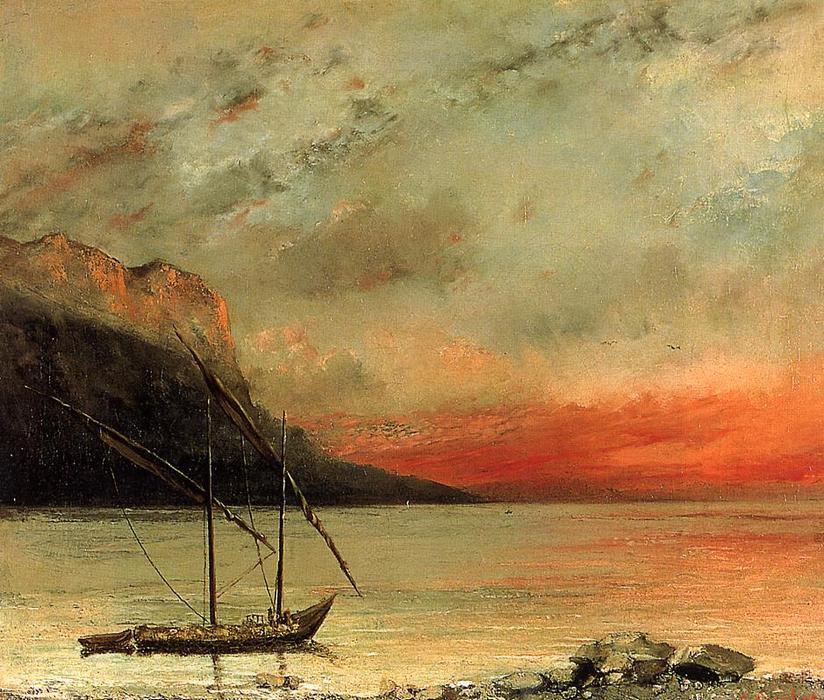 Coucher de soleil sur le lac l man 1874 de gustave - L heure du coucher du soleil aujourd hui ...