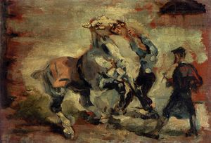 Henri De Toulouse Lautrec - Cheval Fighting Son Groom