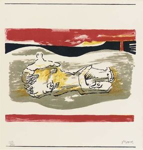 Henry Moore - inclinable la figure avec  rouge  rayures bandes
