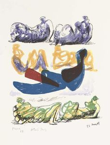 Henry Moore - inclinable chiffres avec bleu centrale composition