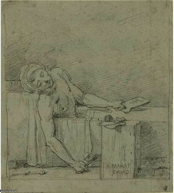 la mort de Marat ( Étudier ), Huile de Jacques Louis David (1748-1800, France)
