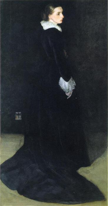 arrangement en noir , Pas . 2 . portrait de mme . louis huth, Huile de James Abbott Mcneill Whistler (1834-1903, United States)