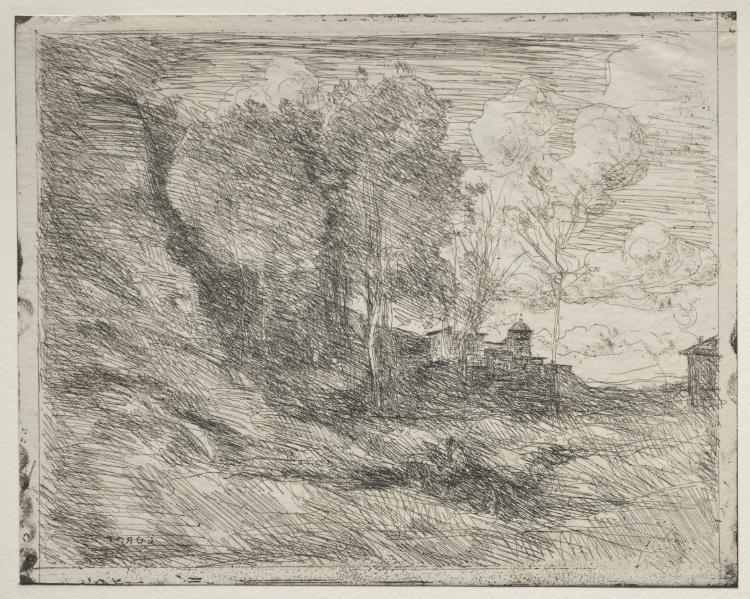 Un souvenir d ostie dessin de jean baptiste camille corot - Camille dessin ...