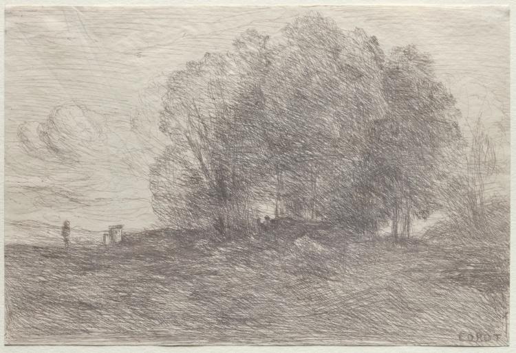 Groupe d 39 arbres dessin de jean baptiste camille corot - Camille dessin ...