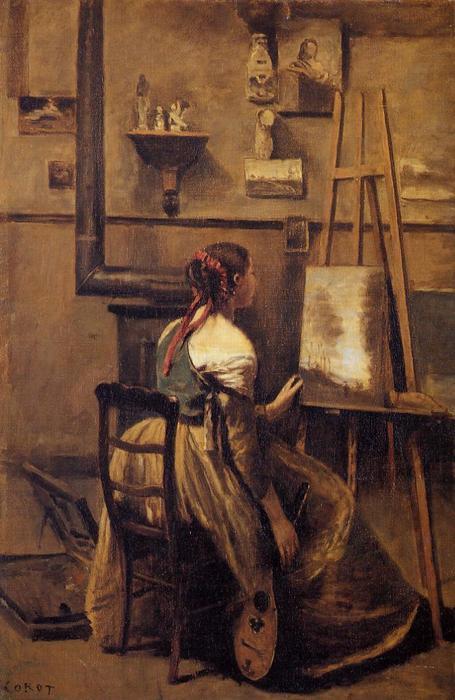 l atelier de l artiste 4 de jean baptiste camille corot 1796 1875 france reproductions de. Black Bedroom Furniture Sets. Home Design Ideas