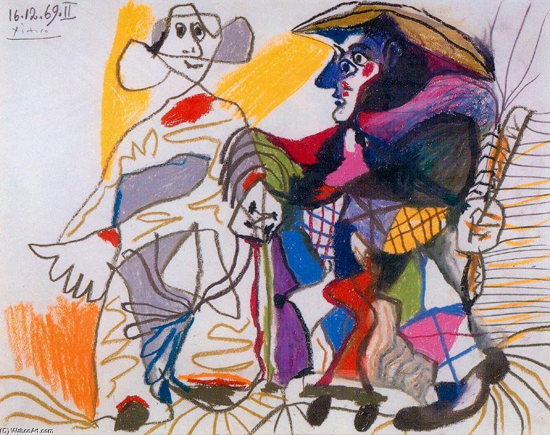 et arlequin, Huile de Pablo Picasso (1881-1973, Spain)