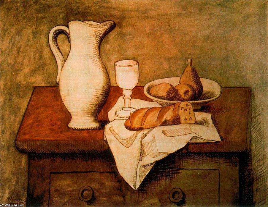 morte avec cruche et pain, huile sur toile de Pablo Picasso (1881 ...