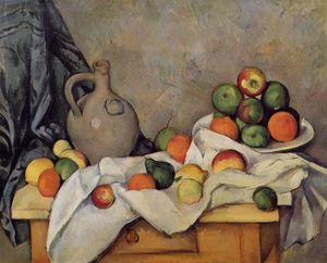 Paul Cezanne - rideau cruche  et  fruits