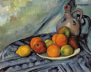 Paul Cezanne - fruits et cruche sur une table