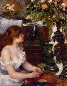 Pierre-Auguste Renoir - fille et cat