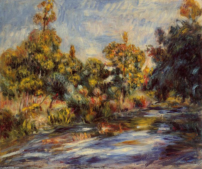 paysage avec rivière, 1917 de Pierre-Auguste Renoir (1841-1919, France)   Reproduction Peinture ...