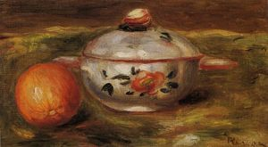 Pierre-Auguste Renoir - nature morte avec orange et sucre bol