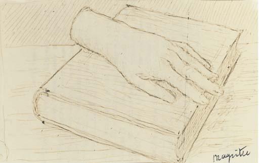 La main sur le livre, dessin de Rene Magritte (1898-1967, Belgium)