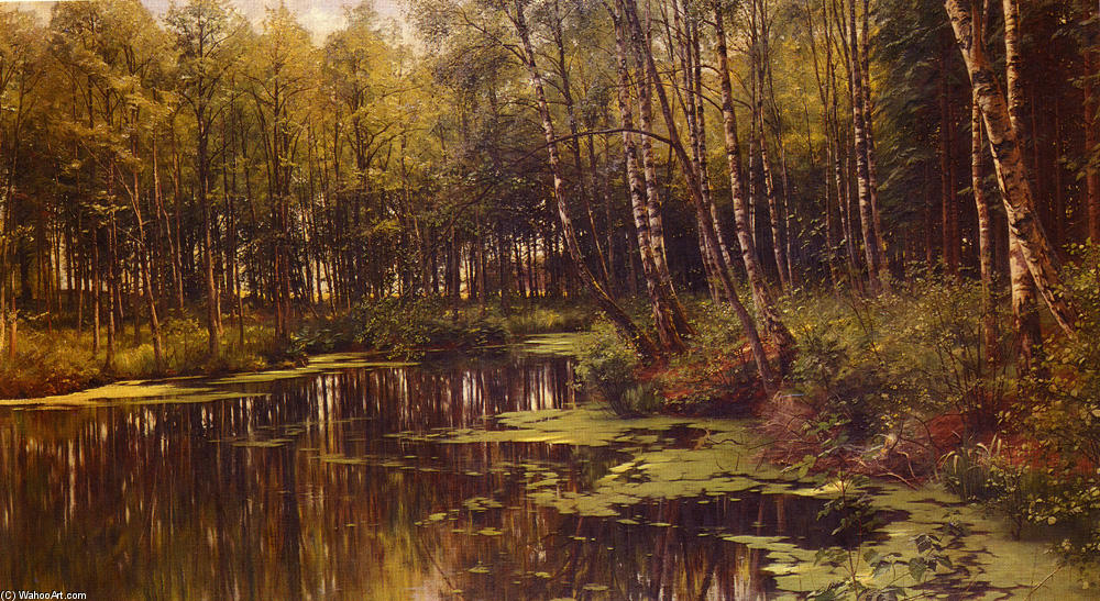 A Woodland étang, huile de Peder Mork Monsted (1859-1941, Denmark)