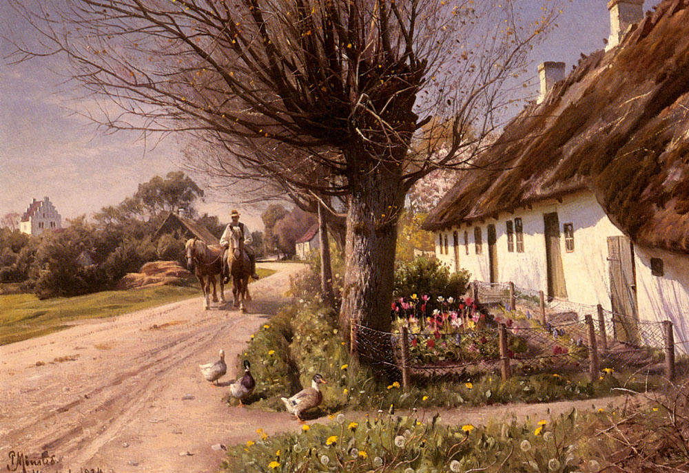 cottages Hjornbaek, Huile de Peder Mork Monsted (1859-1941, Denmark)