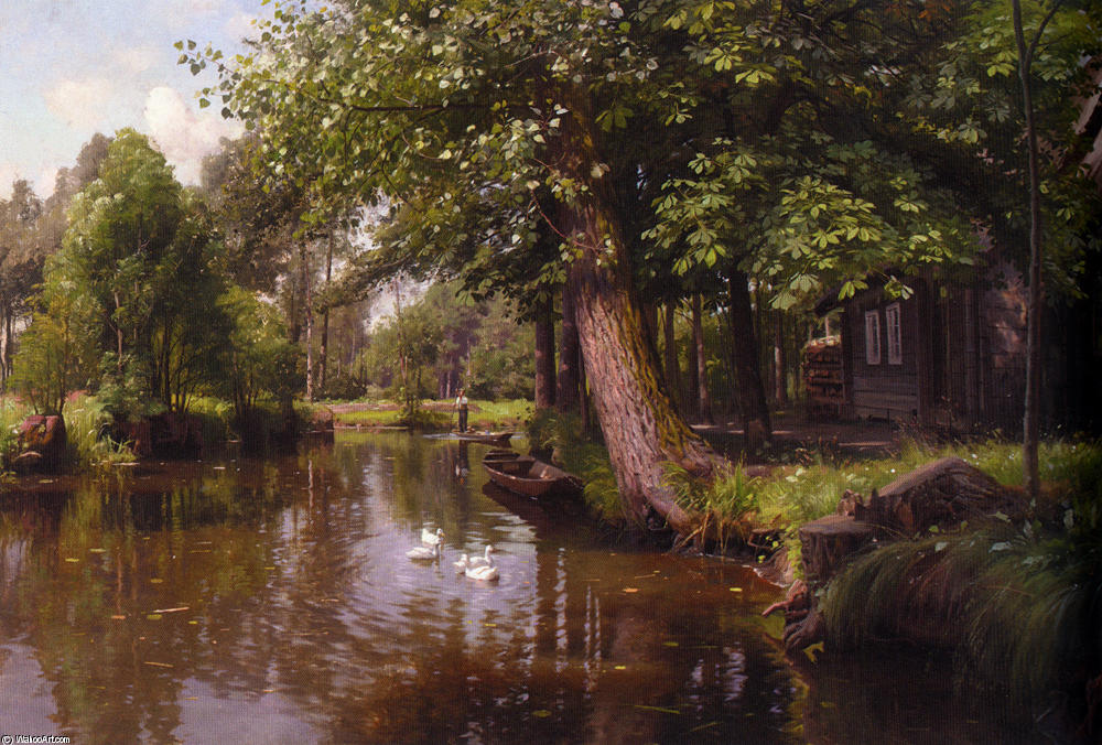 Flodbred de Peder Mork Monsted (1859-1941, Denmark) | Reproductions De Qualité Musée Peder Mork Monsted | WahooArt.com