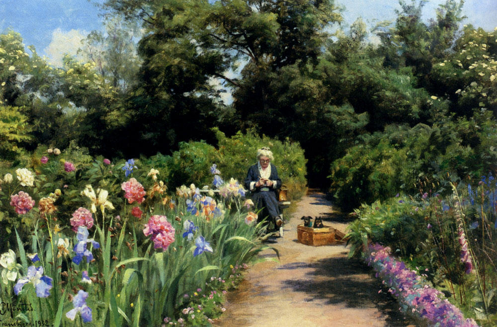 Achat Reproductions D'art Sur Toile : Tricotage In The Garden de Peder Mork Monsted (1859-1941, Denmark) | WahooArt.com