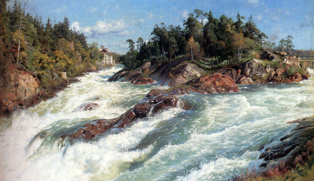 Les Raging Rapids de Peder Mork Monsted (1859-1941, Denmark) | Reproduction Peinture | WahooArt.com