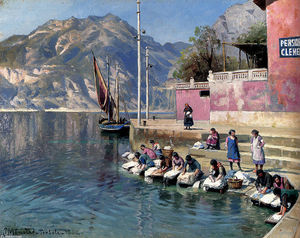Peder Mork Monsted - laveuse femmes , Torbole