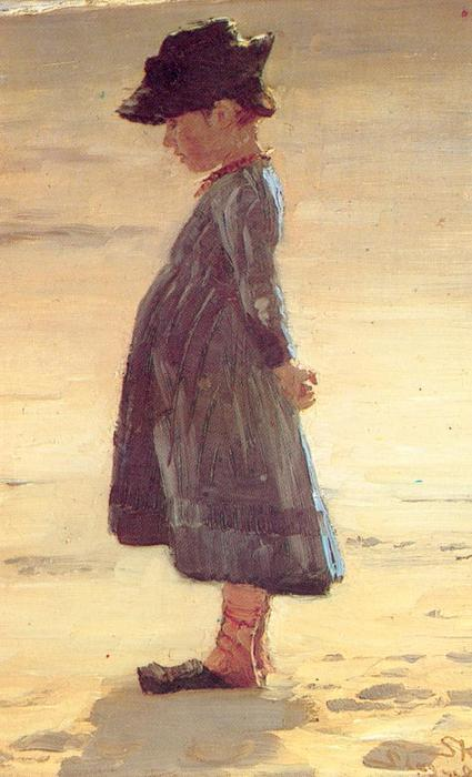 Niña en la playa de Peder Severin Kroyer (1851-1909, Norway) | Reproduction Peinture | WahooArt.com