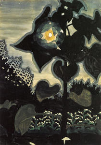 Charles Ephraim Burchfield - lune à travers jeunes tournesols