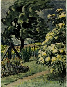 Charles Ephraim Burchfield - pear tree et elderblossoms ( Wind-Blown blossoms elder ) ; Le Artist-s Arrière-cour , Gardenville