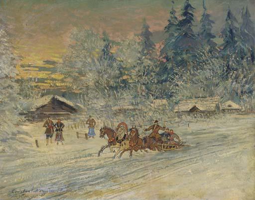 une Troïka dans la neiges , dessin de Konstantin Alekseyevich Korovin ...