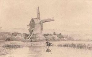 David Cox - Abreuvement du bétail par un moulin sur Dulwich commune