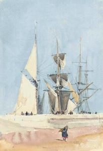 David Cox - navires à voile preparing for mer , Dieppe , France