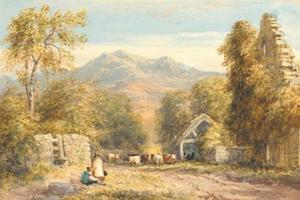 David Cox - View From Abbey Kymmer au nord  Galles