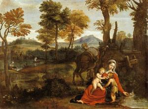 Domenichino (Domenico Zampieri) - le repos sur l' vol en egypte