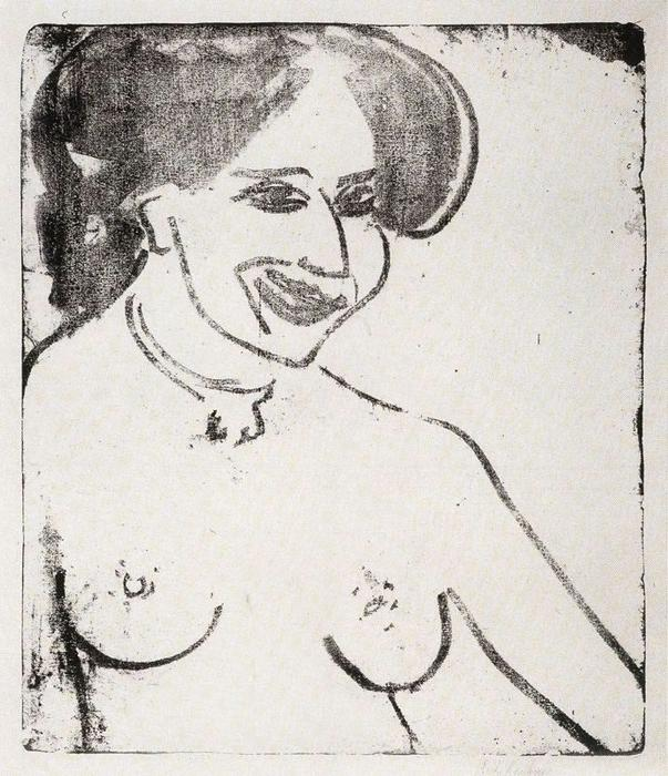 Nu souriant de Ernst Ludwig Kirchner (1880-1938, Germany) | WahooArt.com
