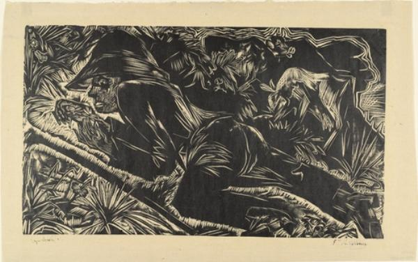 Shepherd repos, lithographie de Ernst Ludwig Kirchner (1880-1938, Germany)