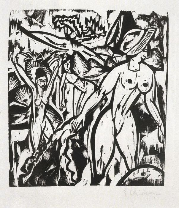 Trois baigneurs 1 de Ernst Ludwig Kirchner (1880-1938, Germany) | WahooArt.com
