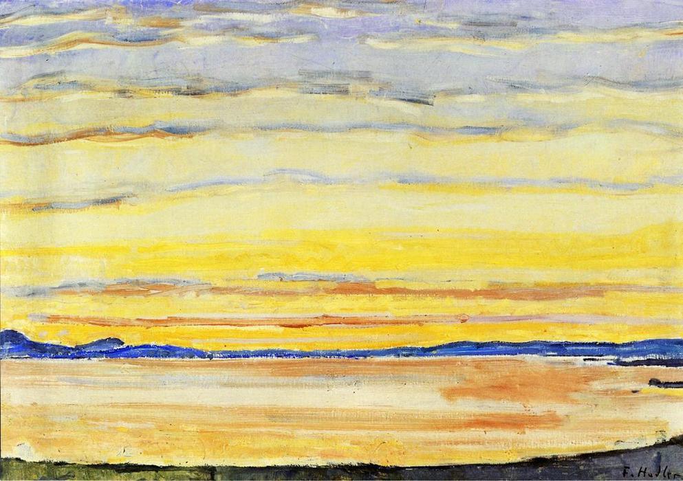 Coucher de soleil sur le lac Léman, huile sur toile de ...