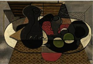 Georges Braque - Carafe , verre et fruits
