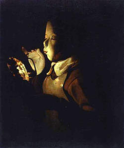 Georges De La Tour - garçon `blowing` à un lampe
