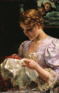 James Carroll Beckwith - La Brodeuse