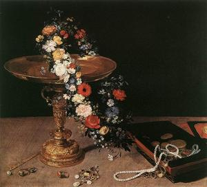 Jan Brueghel The Elder - StillLife avec guirlande de fleurs et d or Tazza