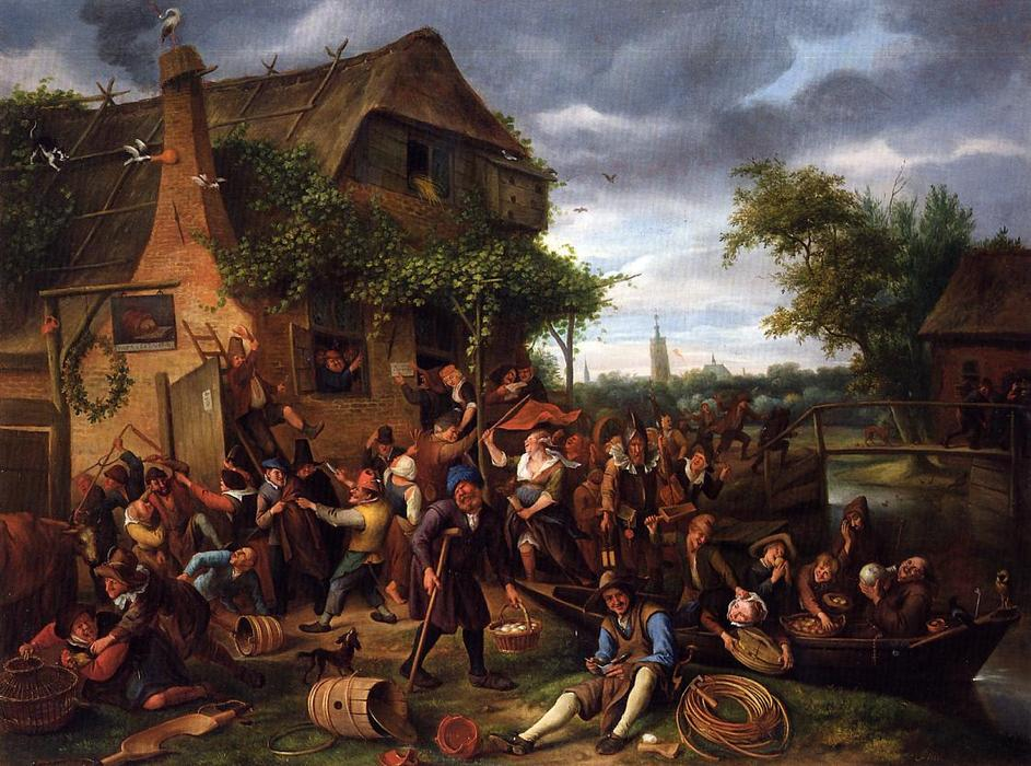 Un Village Revel, 1673 de Jan Havicksz Steen | Reproductions De Peintures Célèbres | WahooArt.com