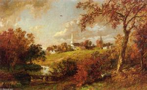 Jasper Francis Cropsey - arrière de l' village , Hastings-on-Hudson , new york