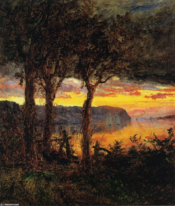 Palisades face Hastings-on-Hudson, 1887 de Jasper Francis Cropsey (1823-1900, United States) | WahooArt.com