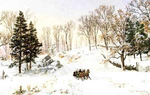 Jasper Francis Cropsey - hiver sur rivensdale road , Hastings-on-Hudson , new york