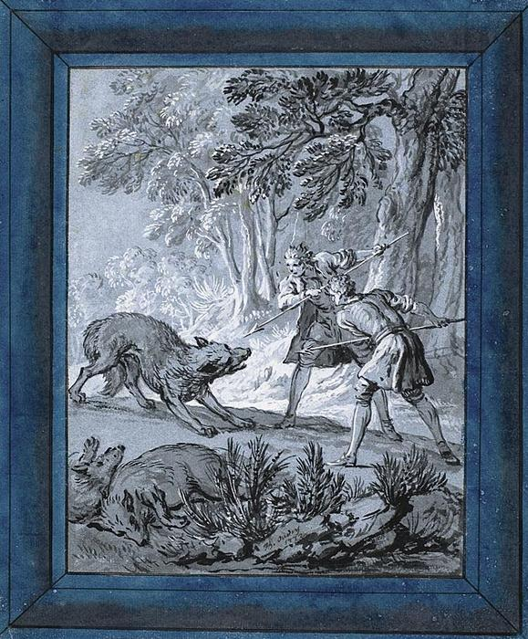 Hommes Loups Attaquer de Jean-Baptiste Oudry (1686-1755, France)