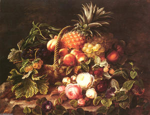 Johan Laurentz Jensen - a nature morte d'un corbeille de fruits et roses
